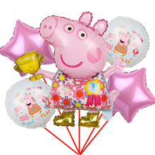 Balloons Baby Shower Birthday-Party-Decorations Globos Girl Kids Peppa Pig-Foil Boy Toys