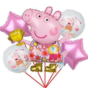 1set Peppa Pig Foil Balloons baby shower girl boy globos Birthday Gift birthday party Decorations Kids Toys Peppa pig George happy birthday peppa