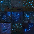 Blue Moon Stars Luminous Wall Stickers for Kids Rooms Decoration Art Fluorescent Unicorn Wall Decals Glow in the Dark Stickers