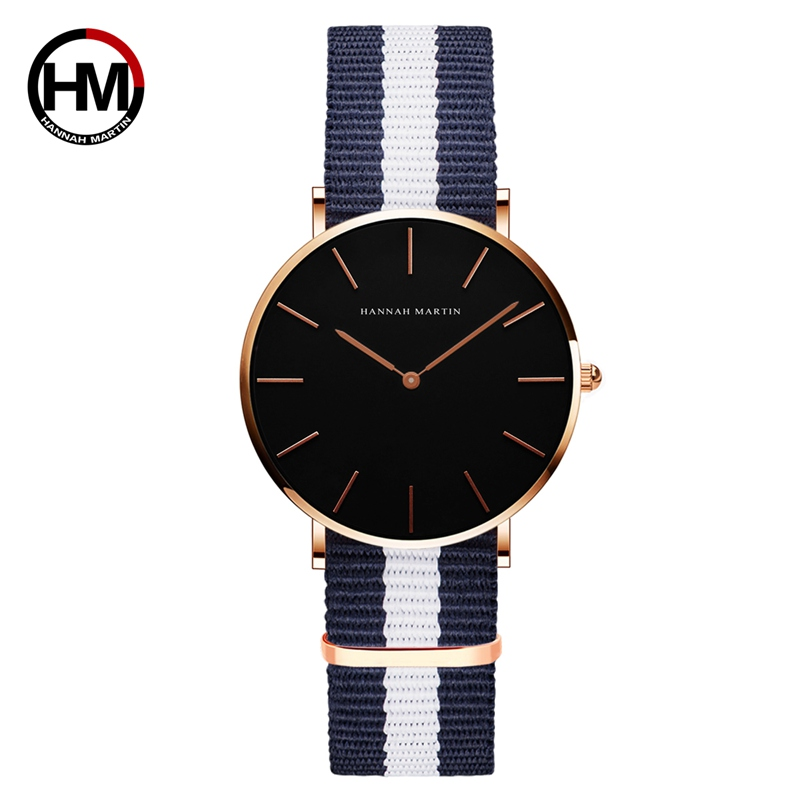 Relogio Hannah Martin Luxury Brand DW Style Women Watch Japan Movement Rose Gold Waterproof Nylon Ladies Quartz Watch Black Dial