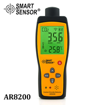 SMART SENSOR Handheld CO2 Gas Analyzer Meter Monitor Gas Detector Carbon Dioxide Detector CO2 Tester Measuring range 350~9999PPM riot control oxygen gas analyzer o2 concentration measuring instrument detector tester smartsensor w sound