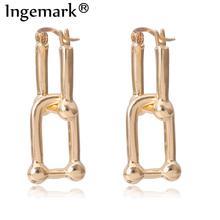 Ingemark Korean Geometric Lock Clip Earrings Women Statement 2020 Punk Small Gold Color Piercing Clip on Earrings Party Jewelry