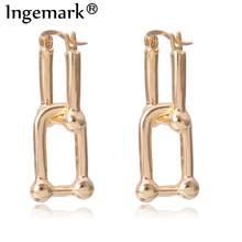 Ingemark Koreanische Geometrische Lock Clip Ohrringe Frauen Erklärung 2020 Punk Kleine Gold Farbe Piercing Clip auf Ohrringe Partei Schmuck