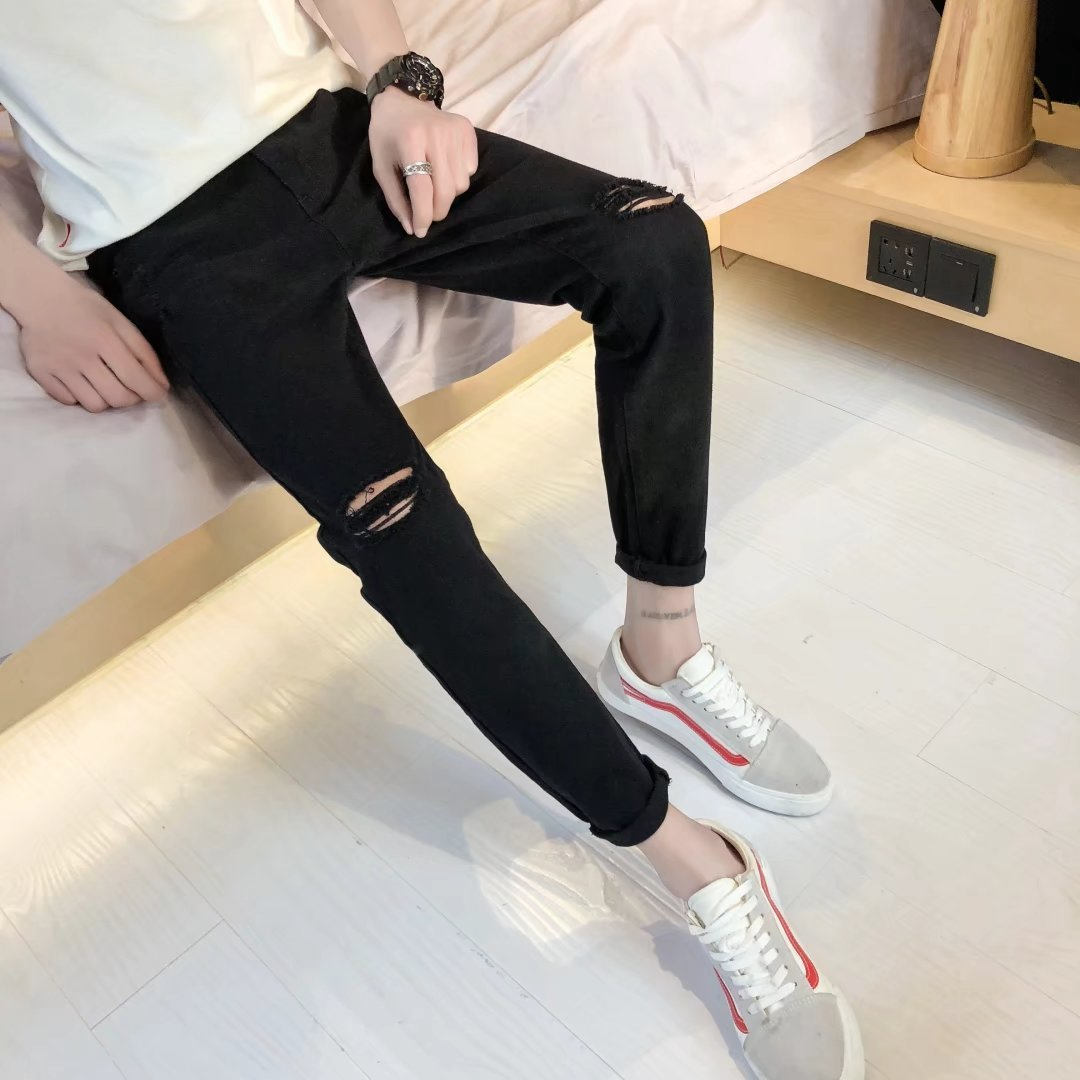 Man Nine Part Jeans Trend One Word Knee Holes Pants Leisure Haren Bound Feet Hip Hop Trouser Bottom Streetwear Jeans