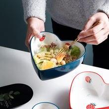Корейский стиль сердце чаша керамическая с клубничным узором