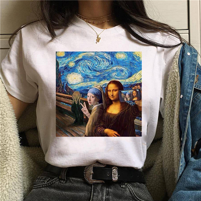 Mona Lisa Aesthetic Harajuku T Shirt Women Ullzang Vintage Graphic T-shirt Funny Cartoon 90s Tshirt Korean Style Top Tees Female