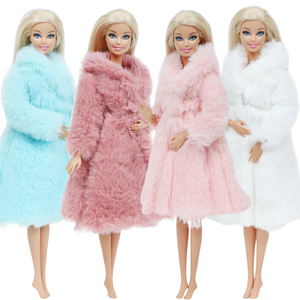 Multicolor 1 Set Long Sleeve Soft Fur Coat Tops Dress Winter Warm Casual Wear Accessories Clothes for Barbie Doll Kids Toy(China)
