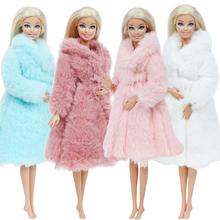 Multicolor 1 zestaw z długim rękawem miękkie futro topy sukienka zimowa ciepła odzież na co dzień akcesoria ubrania dla barbie Doll Kids Toy tanie tanio BJDBUS Tkaniny Fit for 11 5 in -12 in (30cm) doll Dziewczyny Styl życia Suit The doll is not including Akcesoria dla lalek