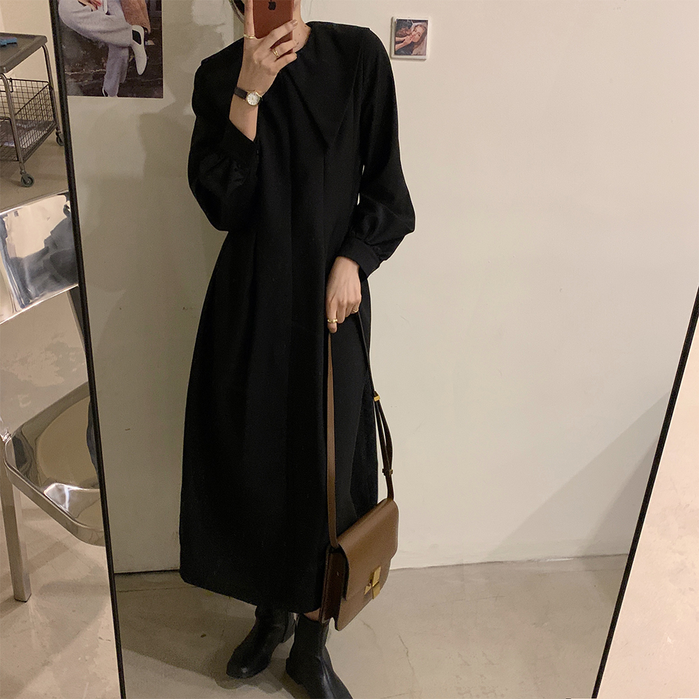 Hc9e91d592e854f4fbbdfe14a9d3a7208R - Autumn Big Lapel Collar Long Lantern Sleeves Solid Loose Midi Dress