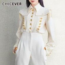 韓国エレガントなタッセルシャツ女性ラペル襟ランタンスリーブ大サイズルースブラウス女性 2019 CHICEVER 秋のファッション新しい