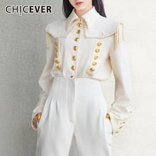 CHICEVER 2020 秋のファッション新しい 韓国エレガントなタッセルシャツ女性ラペル襟ランタンスリーブ大サイズルースブラウス女性