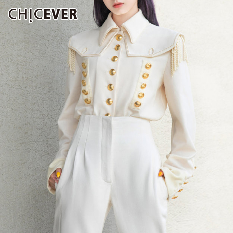 CHICEVER Korean Elegant Tassel Shirt Women Lapel Collar Lantern Sleeves Large Size Loose Blouse Female 2019 Autumn Fashion New