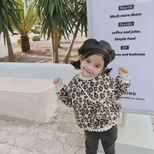 New autumn Korean style sweet Artificial lamb fur full-fledged Leopard-print long-sleeved sweatshirt for girls