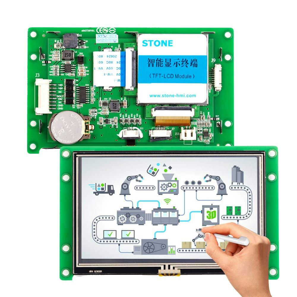 4.3 Inch HMI Intelligent LCD Touch Screen With Controller Borad  For Equipment Use