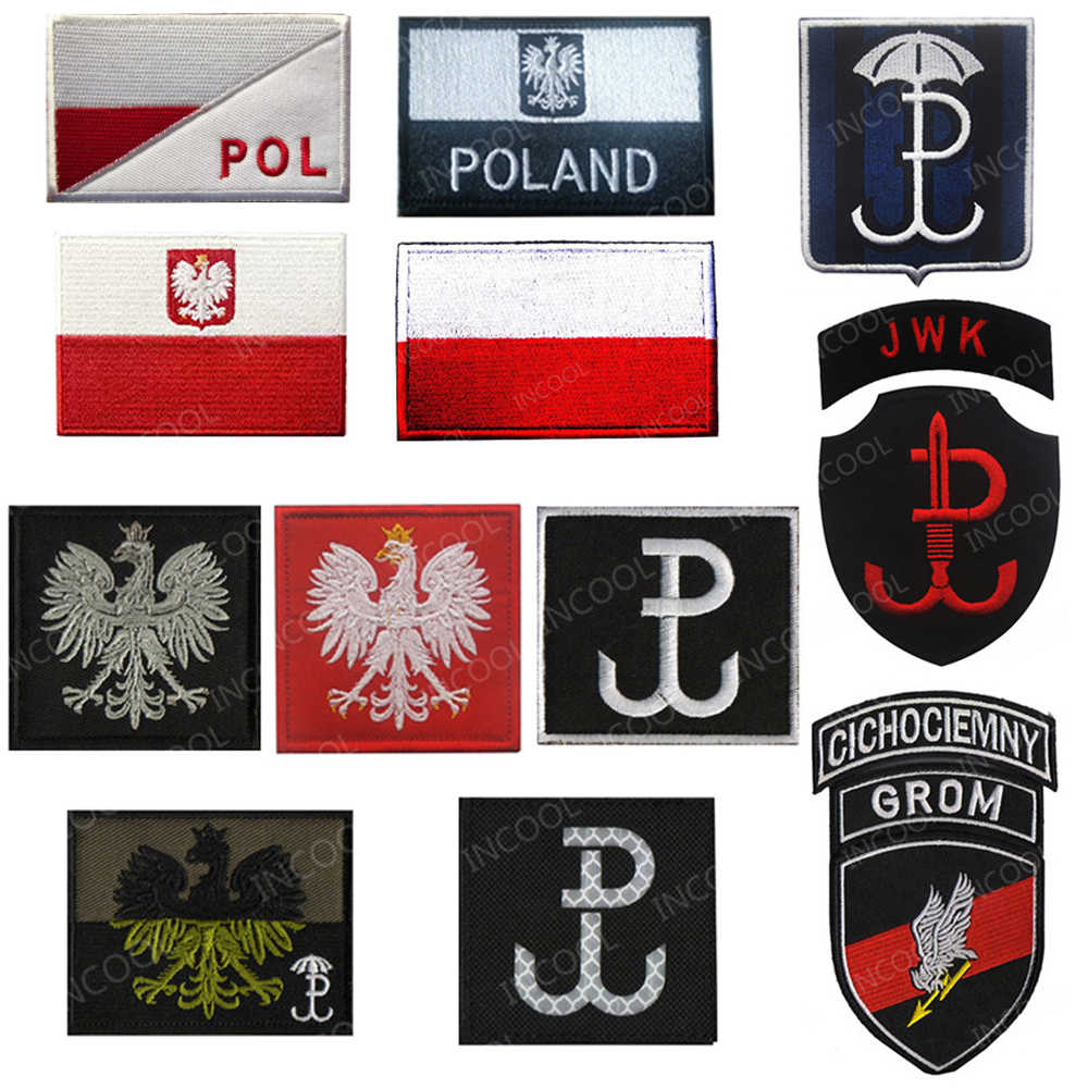 Polen Vlag Borduren Patch Poolse Adelaar Speciale Kracht Militaire Patches Tactische Embleem Applique Geborduurde Badges