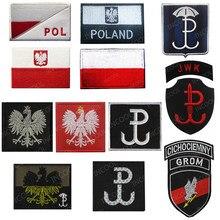 Polónia bandeira bordado remendo polonês águia força especial do exército remendos militares tático emblema apliques bordados emblemas