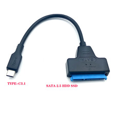 лучшая цена USB 3.1 Type C SATA Cable Converter Male to 2.5'' HDD SSD Drive Wire Adapter Wired Convert USB3.1 SATA3 22Pin Cable for Computer