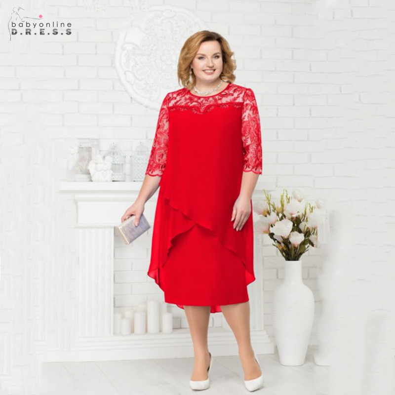 New Arrival Red Lace Mother Of The Bride Dresses Wide-waisted Illusion Long Wedding Party Dresses Chiffon Vestido De Madrinha