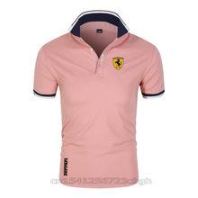 Summer New Ferrari Polo Shirt British Breathable Brand Large Size Printing Fashion Men's Harajuku Splicing Lapel Casual Men's