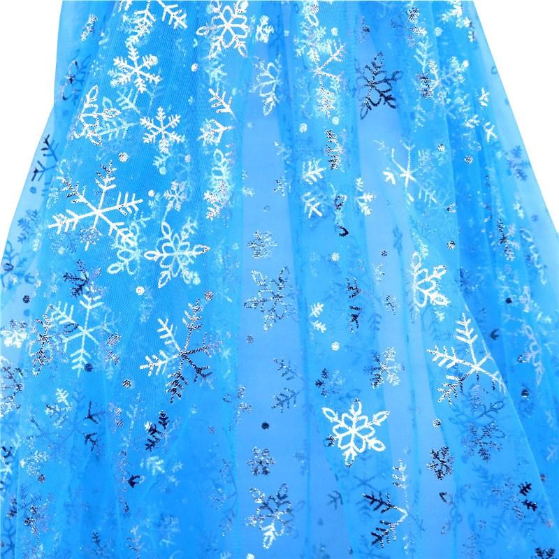 Width1.55 m Blue Snowflake Sequin Fabric Organza Diy Party Decor Princess Dress Winter Wonderland Decorations Christmas Supplies