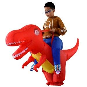 Image 2 - Надувной костюм динозавра дракона для взрослых и детей, маскарадный костюм T Rex на Хэллоуин, детские костюмы динозавра Пурим
