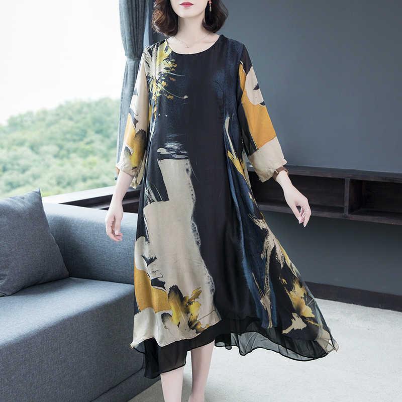 2020 Phụ Nữ Mùa Hè Lụa Nữ Casual Plus Size Đầm Thanh Lịch Bãi Biển ĐẦM DỰ TIỆC Vestidos De Fiesta KJ3959
