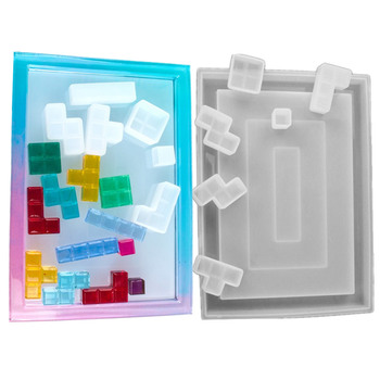 Russian Tetris Silicone Molds DIY Handcraft Resin Casting Molds For Home Decor Game play UV Epoxy Resin Tray Coaster Mold Kit handcraft resin decor collar black