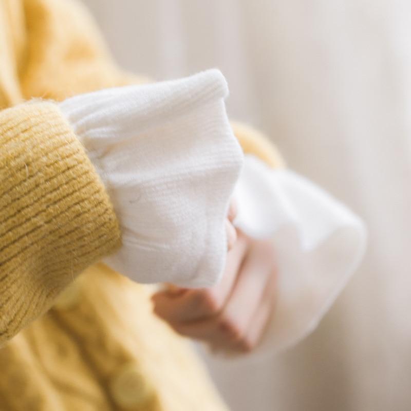Women's Sweater Coat With Fungus Chiffon Fake Sleeves Women Beautiful Korean Knitted Ladies Sunscreen Fake Collar Horn Fake Long