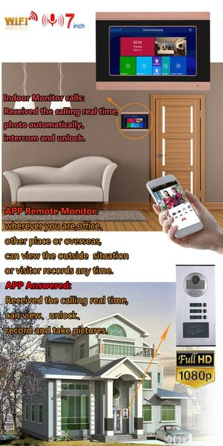 7 inç kayıt kablolu Wifi Video interkom sistemi 2 daire ile RFID kapı telefonu sistemi IR-CUT HD 1080P kapı zili kamera kilidini