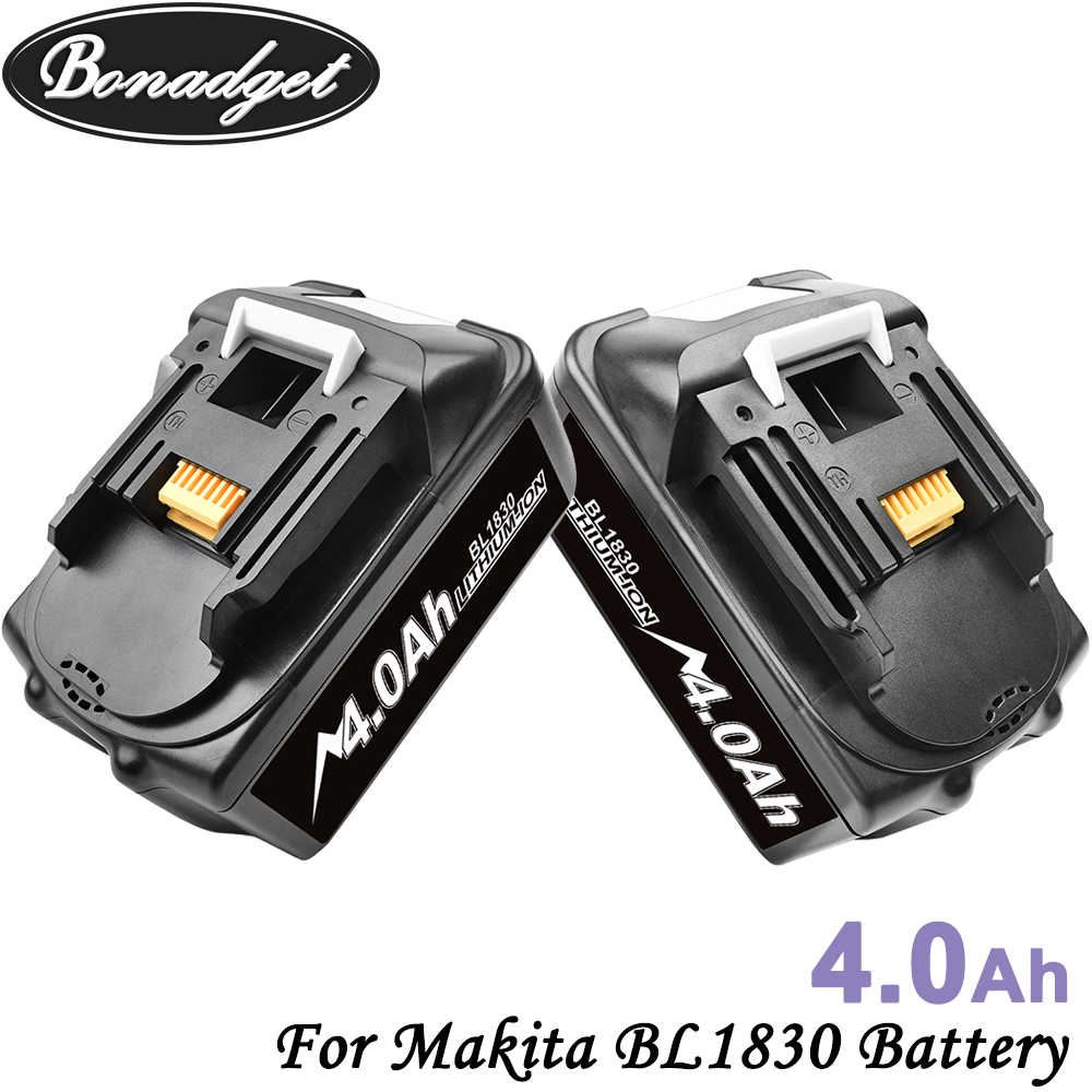 Bonadget Rechargeable 2Piece 18V 4000Ah Li-ion Battery For Makita BL1830 BL1815 BL1860 BL1840 194205-3  Power Tools Battery