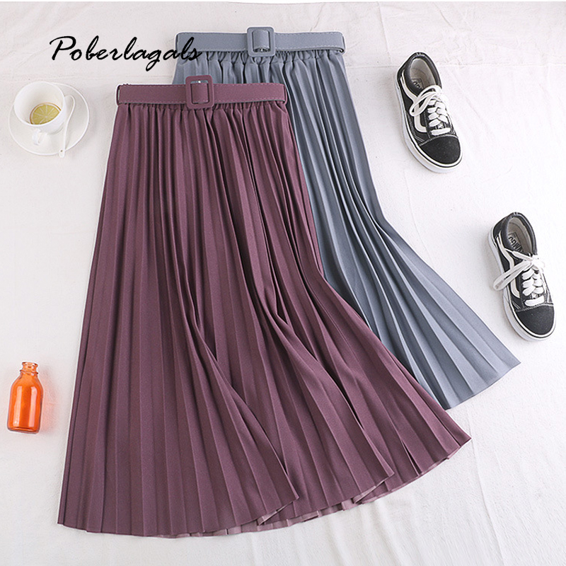 Summer Women Fashion Elegant Retro Pleated Skirts Female 2020 High Waist Skirt With Belt Chiffon Pleated Midi Long Skirts Womens
