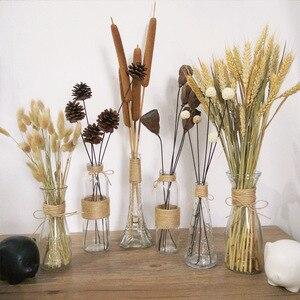 Image 5 - Jarrones de vidrio nórdico creativos decoración de mesa de sala de estar, transparente, agua, hidropónico, cuerda de flores, florero seco, botella Diy