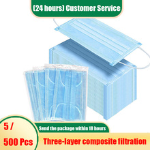 500Pcs Face Mouth Protective Mask Disposable Protect 3 Layers Filter Dustproof Earloop Non Woven Mouth Masks 24 hours Shipping