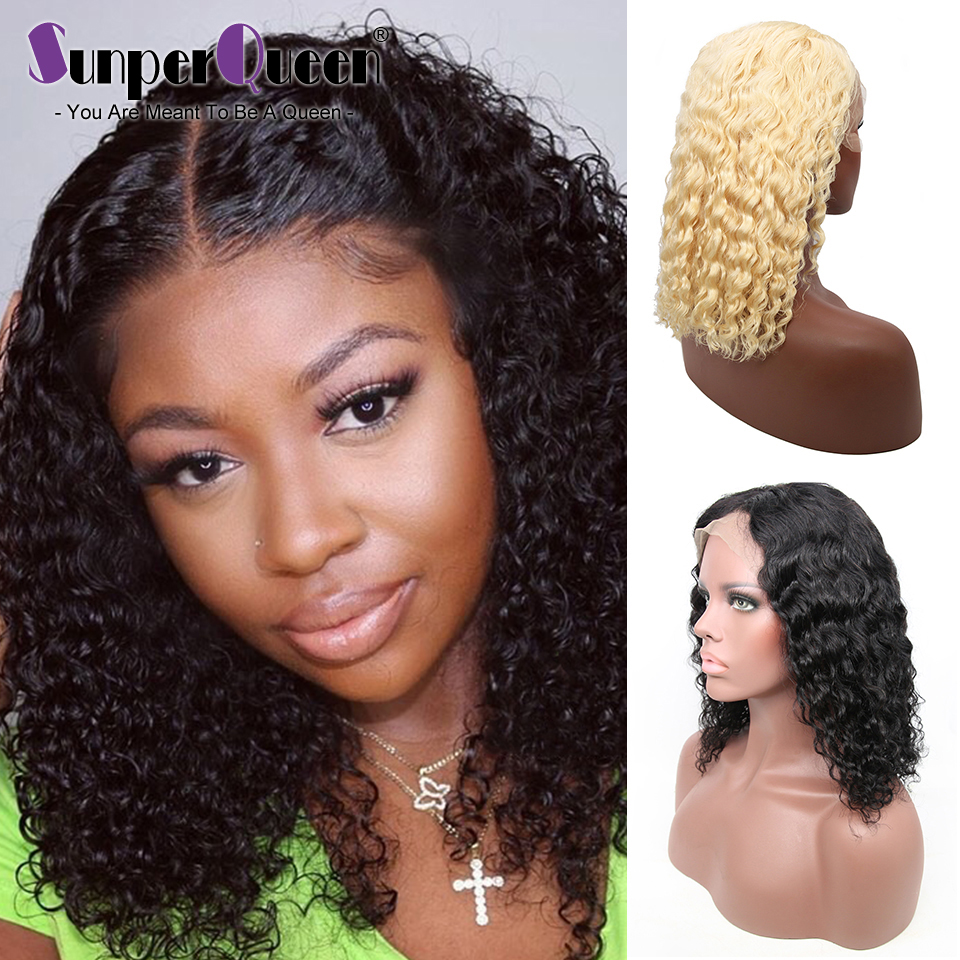 13x6 Deep Wave Remy Short Lace Front Human Hair Wigs Bob Afro Kinky Curly Frontal Wig