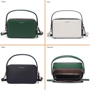 Image 4 - NEVEROUT ブランドの小さなハンドバッグ分割レザーショルダークロスボディバッグハンドルと女性ジッパーフラップバッグブラック/ グリーン/グレー