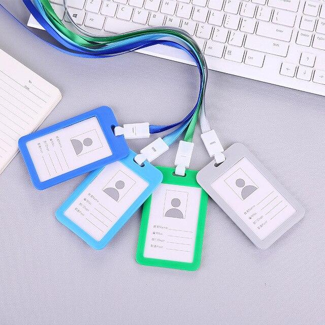 1 pièces porte-carte didentité durables hommes femmes nom carte de crédit couverture Bus cartes porte-Badge didentité daffaires avec lanière