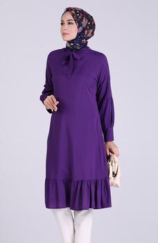 Minahill fioletowa tunika moda muzułmańska islamska odzież skromna topy arabska odzież długa tunika dla kobiet 1191-08 tanie i dobre opinie TR (pochodzenie) tops Aplikacje Bluzki i koszule Octan Dla dorosłych