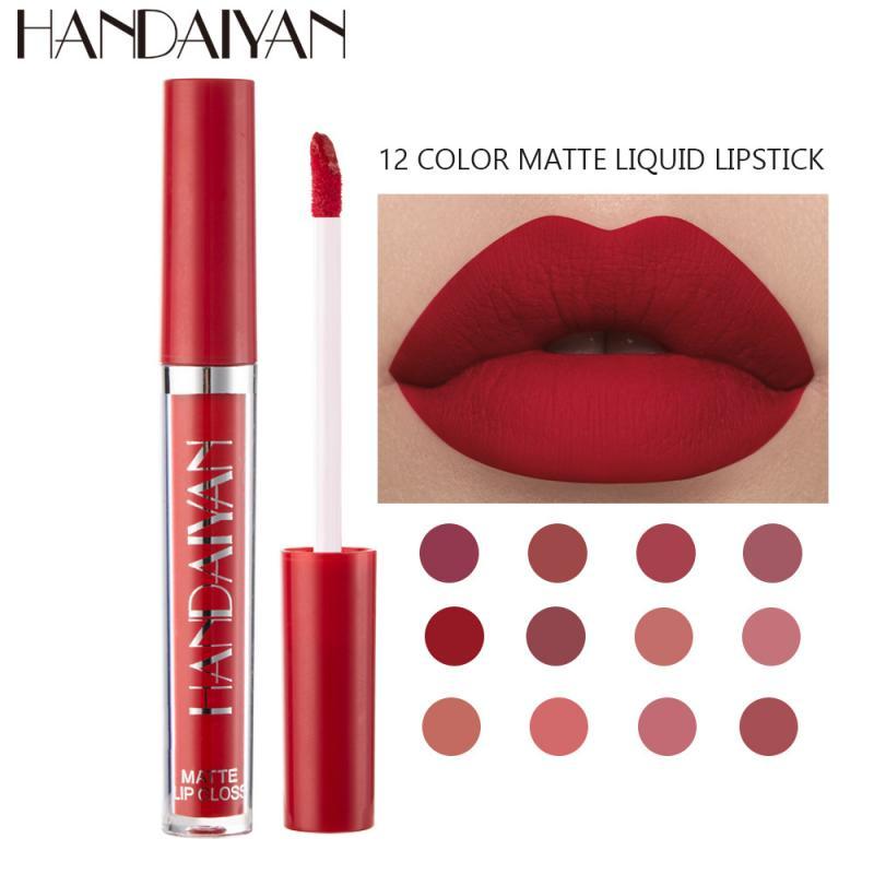 1pcs Women's Fashion Liquid Lipstick Set Lipgloss Nude Makeup Matte Velvet Lip Glosses Red Natural Moisturizer Non-stick(China)