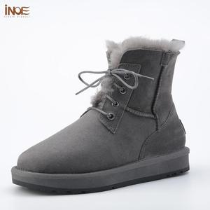Image 1 - INOE Sheepskin Leather Wool Fur Lined Men Lace Up Short Ankle Winter Snow Boots For Man Casual Shoes Waterproof Black Brown Grey