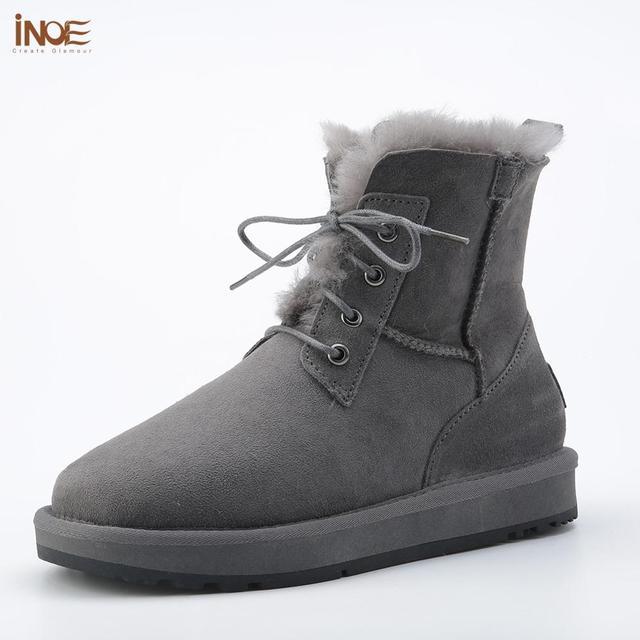 INOE כבש עור צמר פרווה מרופד גברים שרוכים קצר קרסול חורף שלג מגפי לגבר נעליים יומיומיות עמיד למים שחור חום אפור