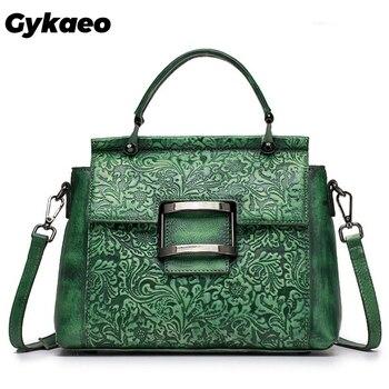 Gykaeo Luxury Handbags Women Bags Designer Floral Genuine Leather Crossbody Bags for Women Street Retro Shoulder Bag Sac A Main