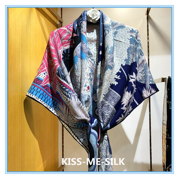 KMS Mid-Summer Night Dream Gentle Color Sun Screen Silk and Cashmere Scarf Shawl Warm Shawl  135*135CM/155G a summer night s dream