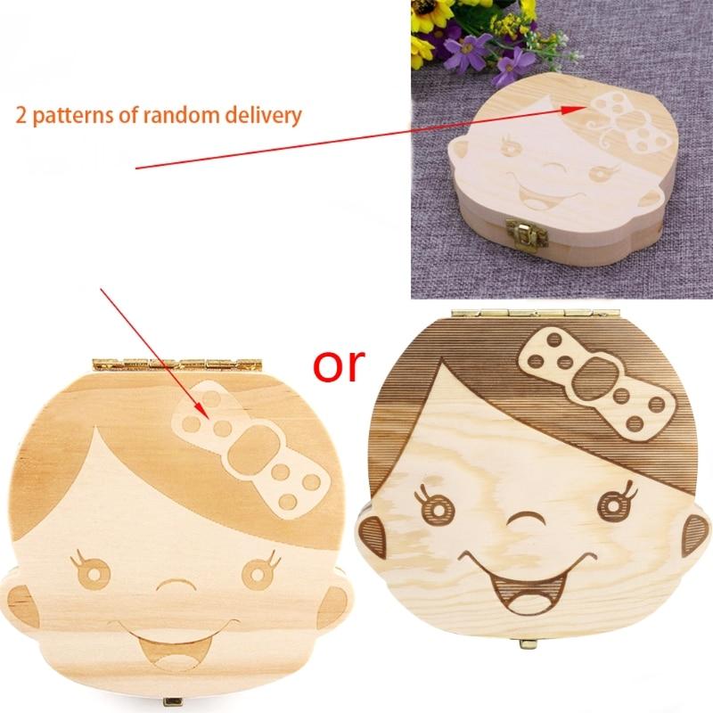 Kids Tooth Box Organizer Baby Save Milk Teeth Wood Storage Box For Boy&Girl U50F