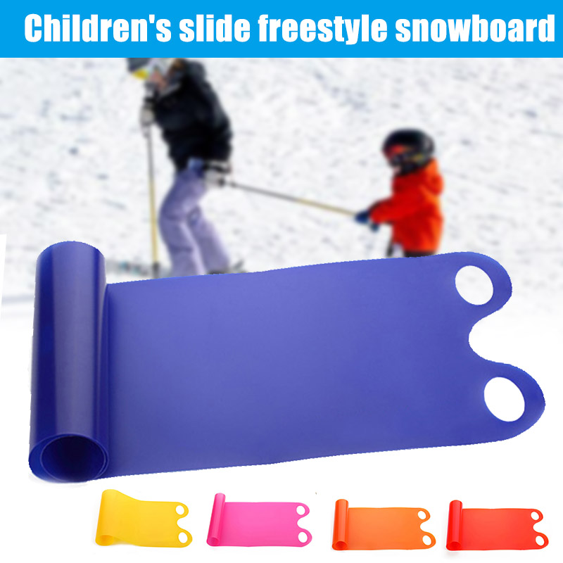 Adult Kids Snowboard Ski Snow Sled Roll Up  Thick Plastic Boards Sand Grass Slider Pad Board With Hollow Handle Winter Outdoor