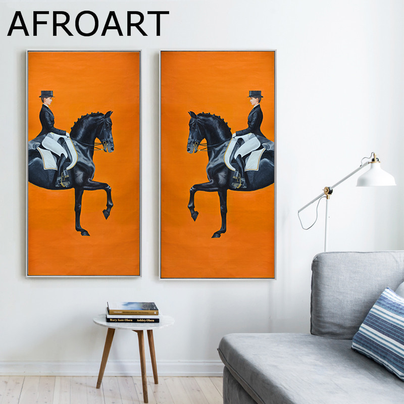 horse riding print watercolour a4  wall art picture gift 9 unframed