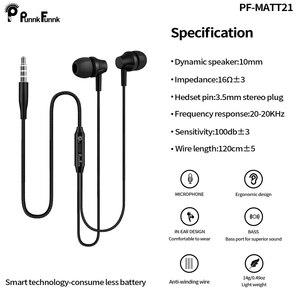 Image 4 - PunnkFunnk metalowe głębokie basowe słuchawki Stereo sportowe słuchawki W/Mic regulacja głośności dla iphone 6 7 8 x samsung s10 s9 s8 s7 note9 j3