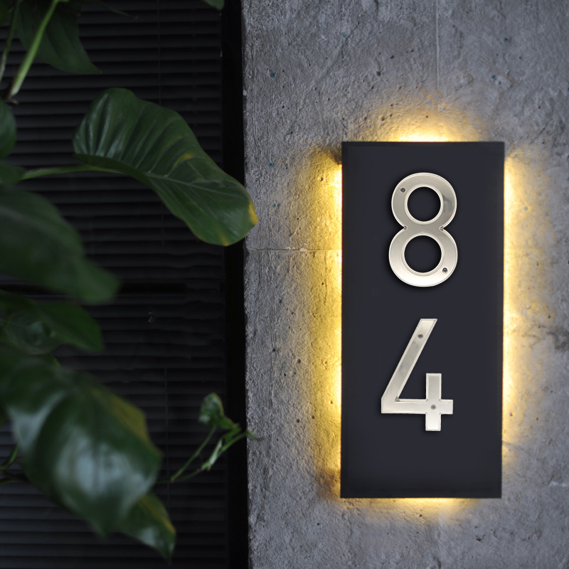 Brushed Nickel 152mm Very Big House Number Door Address Number Zinc Alloy Screw Mounted Outdoor Address Sign # 0-9