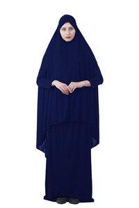Image 3 - Kalenmos Formal Muslim Prayer Garment Sets Women Hijab Dress Abaya Islamic Clothing Dubai Turkey Namaz Long Khimar Jurken Abayas