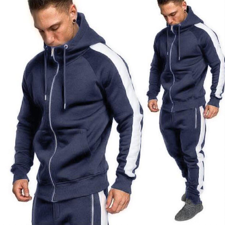 2019 New Brand Men Tracksuits Outwear Hoodies Zipper Sports Suit Sets Male Sweatshirts Cardigan Men Set Clothing Pants Plus Size