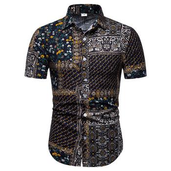 W stylu Vintage bluzka w roślinny wzór mężczyźni koszulka Homme 2019 moda Paisley koszula hawajska męskie bawełniane Linne koszule z krótkim rękawem sukienka koszula mężczyzna tanie i dobre opinie Liva girl Casual Shirts COTTON Linen Pojedyncze piersi Men Shirt Suknem Print Skręcić w dół kołnierz Na co dzień REGULAR